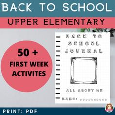 Back to School Activities Elementary  | Ice Breakers | All About Me | SEL This 80 page NO PREP Back to School activities bundle is flexible and adaptable to suit the needs and schedule of your students and classroom. You can create an:80 Page Back to School Journal for each student to complete over the first few weeks of school;Mini Journals (eg: Mindfulness journal, All About Me journal, Mood journal, Writing Prompt journal, Gratitude Jar, Habit Tracker) #sarah_annes_creative_classroom First Week Activities, All About Me Activities, Back To School Activities, Elementary Teacher, Elementary Schools, Instructional Planning, Gratitude Jar, Kindness Activities, Effective Learning