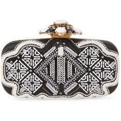 Oscar de la Renta Women's Cabochon GOA Embroidered Clutch - Black ($799) ❤ liked on Polyvore featuring bags, handbags, clutches, black, embroidery purse, embroidered handbag, chain handle handbags, chain strap handbag and clasp purse