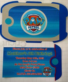 Matthews party invites.... the invite slides out of the pup pad....