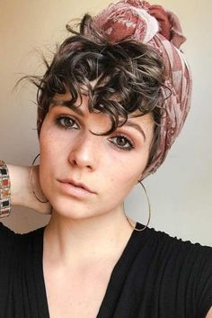 40 Beloved Short Curly Hairstyles for Women of Any Age! Curly Pixie With Headscarf Short Curly Hairstyles For Women, Curly Hair Styles, Hair Scarf Styles, Curly Hair Cuts, Short Hair Cuts, Natural Hair Styles, Short Curly Hair Updo, Short Curly Pixie, Pixie Cut