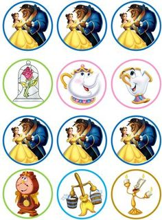 Beauty And The Beast Cupcake Toppers Beauty And The Beast Crafts, Beauty And The Beast Cupcakes, Beauty And The Beast Party, Beauty And The Best, Belle Beauty And The Beast, Beauty And Beast Birthday, Belle Cake, Bottle Cap Images, 4th Birthday Parties