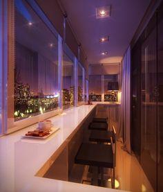 Балкон, веранда, патио в цветах: черный, белый, сиреневый. Балкон, веранда, патио в стиле хай-тек.