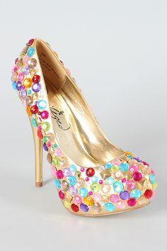 Privileged Gems Multicolor Rhinestone Platform Pump    Yummy, reminds me of candy! :)