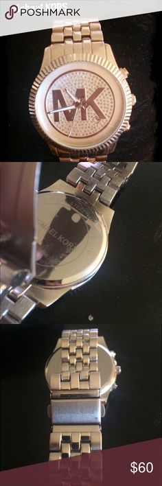 Michael KORS watch Brand new battery. Stainless steel. Do not have extra links or box. Re-posh. It was too big. Unisex . Please note size in picture 4 Michael Kors Accessories Watches