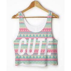 Cute Tribal Pattern Print Boxy Crop Top Tank Vest Womens Girls Hipster Teen