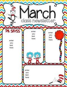 Newsletters for March for your classroom!I hope you enjoy using these newsletters and please leave some awesome feedback! Thanks,Robyn Classroom Bulletin Boards, Classroom Themes, Classroom Activities, Classroom Organization, Seasonal Classrooms, Class Newsletter, Monthly Newsletter Template, Preschool Newsletter Templates, Newsletter Ideas