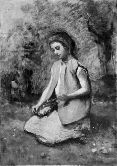 Girl Weaving a Garland by Camille Corot (French 1796-1875), 1860-65