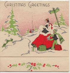 Vintage Greeting Card Christmas People Art Deco Old Fashioned People e243