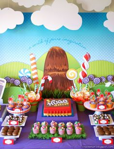A Wow worthy WILLY WONKA - CHARLIE AND THE CHOCOLATE FACTORY PARTY: The Treats Table