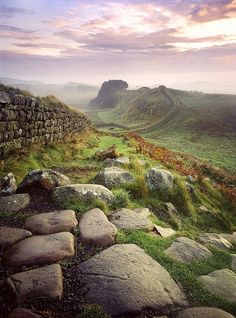 pagewoman:  Hadrian's Wall, near Housesteads,Northumberland, England (by fuggledog