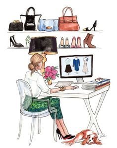 The perfect workspace // illustration by Inslee. Fashion Job, Arte Fashion, Girl Fashion, Fashion Design, Style Fashion, Classy Fashion, Office Fashion, Fashion Editor, Fashion Clothes