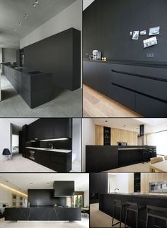 black kitchens. White counters is a bit too much contrast, though.: