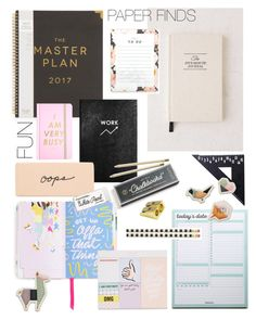 """Paper finds & planners"" by cutandpaste ❤ liked on Polyvore featuring interior, interiors, interior design, home, home decor, interior decorating, ban.do, Intelligent Change, Sloane Stationery and Hester & Cook"