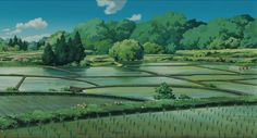 Screencap Gallery for My Neighbor Totoro Bluray, Studio Ghibli). Two young girls, Satsuki and her younger sister Mei, move into a house in the country with their father to be closer to their hospitalized mother. Landscape Drawings, Watercolor Landscape, Landscape Art, Scenery Background, Scenery Wallpaper, Aesthetic Japan, Aesthetic Art, Studio Ghibli Art, Landscape Concept