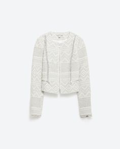 Image 8 of FRAYED JACQUARD JACKET from Zara