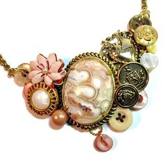 Bib Necklace in Pink with Vintage Buttons, Gift for Mom, for Mother's Day