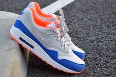 #Nike Air Max 1 Grey Blue Orange #sneakers