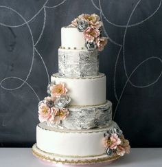Lovely and whimsical and, this pumpkin flavored cake was designed to have the look of vintage writing.
