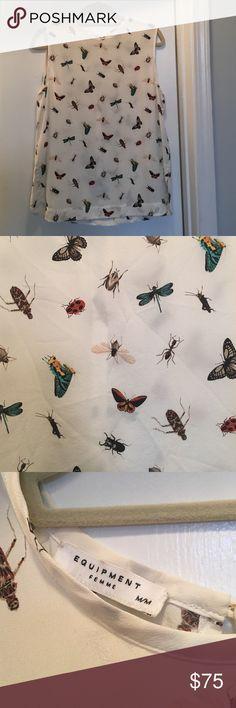 Sleeveless Equipment Blouse Bug printed silk sleeveless equipment blouse in size medium Equipment Tops Blouses