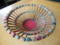 popsicle stick and bead bowl, 50s style
