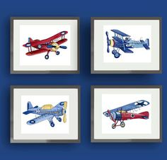 VINTAGE NURSERY AIRPLANE ART FOR BOYS NURSERY OR BEDROOM (AS SHOWN IN FIRST AND SECOND PHOTOGRAPH)  SET OF four 8X10 GICLEE PRINTS (20.3cmX25.4cm) want