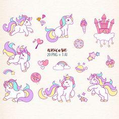 Unicorn clipart unicorns graphics Fantasy Clipart rainbow