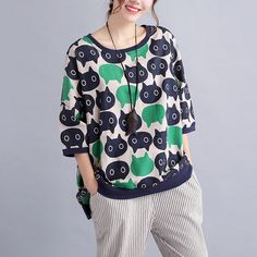New Fashion Plus Size Loose Pullovers Women Hoodies & Sweatshirts Cotton Female Cat Print Large Size Casual Ladies T-shirt Tops