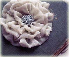 Flower Hair Clip. Light Tan Chiffon Fabric. Pin and Hair Clip