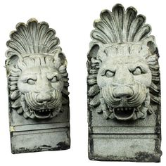 Pair of Terra Cotta Architectural Lion Heads OFFERED BY RENEW PERIOD LIGHTING AND DECORATIVE ARTS $4,650