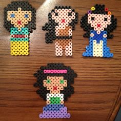 Mulan, Pocahontas, Hildegard and Esmeralda  perler beads by perlerobsessed