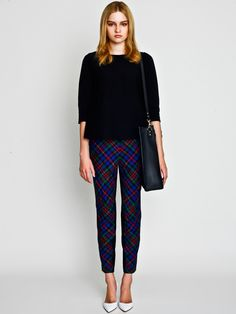 Flare Top with British Check Tapered Pants and Sophie Hulme Bag / LE CIEL BLEU
