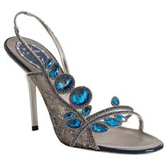 Caovilla silver floral embroidered and crystal slingbacks ($780) ❤ liked on Polyvore featuring shoes, sandals, heels, blue, sapatos, slingbacks, pumps & high heels, sling back sandals, blue high heel sandals and silver shoes