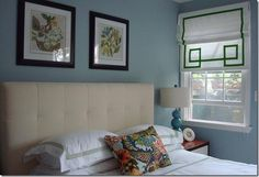 Love the green detail on the curtains...and the little hit of chiang mai...and the light blue of the lamps...maybe that's the right color family for the night stands?