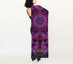 Long Hydrangea Silk Scarf, Long Scarf by Alicia Kent. Artwork printed on fabric and finished into a lovely long scarf
