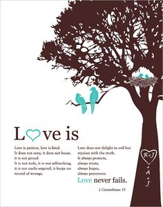 """LOVE IS"" Personalized poster.   This personalized poster will make a unique gift for Valentine's Day, wedding, anniversary or any couple in love. It will be personalized with the initials on a tree and your custom colors."