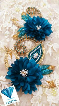 Best 12 Hand-made epaulette in gorgeous emerald greens with dabs of Bead Embroidery Tutorial, Embroidery Neck Designs, Tambour Embroidery, Embroidery Flowers Pattern, Hand Work Embroidery, Couture Embroidery, Embroidery Applique, Flower Patterns, Sequin Crafts