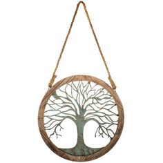 Small Round Wood & Metal Tree Wall Decor