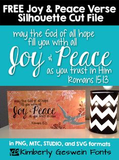 FREE Peace & Joy Bible Verse Word Art, Silhouette Cut File, SVG - Digital scrapbookers can use just the PNG file and the MTC and SVG files should allow must other digital cutting machines to use the files Bible Quotes About Peace, Verses About Peace, Peace Bible Verse, Bible Verses, Free Silhouette Files, Silhouette Design, Silhouette Cameo, Crafty Craft, Crafting