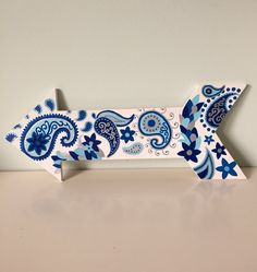 Handpainted Paisley Patterned Blue Navy and Silver 16x6 in.