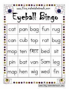 Halloween themed FREEBIE! Eyeball bingo for CVC words.