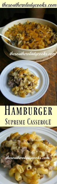 HAMBURGER CASSEROLE -The Southern Lady Cooks - Easy Recipe My family loves this casserole. It is quick and easy to make and is comfort food at its best. 1 pound ground beef cup onion, chopped 1 ounce) can cream of mushroom … Beef Dishes, Pasta Dishes, Food Dishes, Main Dishes, Carne Picada, One Pot Meals, Casserole Dishes, The Best, Cooking Recipes