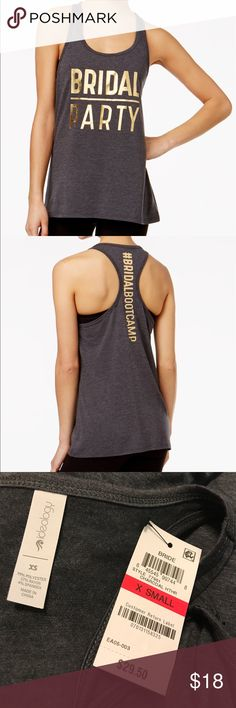 """Bridal party racer back tank top Step up your work outs for the wedding in ideology raceback tank top.  - scoop neckline  - rapid dry wicking technology: flex stretch fabric.  - polyester - """"bridal party"""" printed in front, """"#bridal boot camp"""" printed on back.  - semi fitted, hits at hips  - machine washable  HAS A tiny hole in back - refer to picture.  Price reflects hole.  - Ideology Tops Tank Tops"""