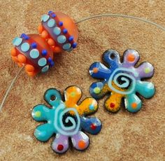 Enameled Copper Charms, Earring Beads, Lampwork Beads, Enamel Components, Wild Child #347 by CC Design