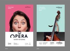 Opera House of Saint-Étienne. Brand design. Poster design.  Opéra de Saint-Étienne.  Identité visuelle 2016 Charte graphique affiches.