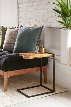 Shop Woodrow Live Edge Wood Side Table at Urban Outfitters today. We carry all the latest styles, colors and brands for you to choose from right here. Side Table Decor, Patio Side Table, Table Decor Living Room, Wooden Side Table, Sofa Side Table, Living Room Modern, Wood Table, Bed Side Table Ideas, Metal Wood Coffee Table