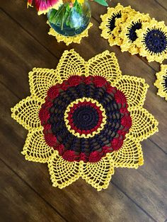 Sunflower Coasters and matching Doily