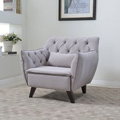 Mid Century Modern Tufted Linen Fabric Living Room Accent Chair in Colors Dark Grey, Light Grey, and Purple (Light Grey) Divano Roma Furniture http://www.amazon.com/dp/B01AIR42B2/ref=cm_sw_r_pi_dp_2LPNwb19PGD7Q