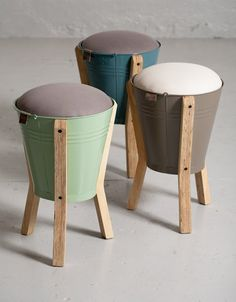 Bucket stools by Pedersen + Lennard. Possible to make something similar to these as an upcycling project maybe?