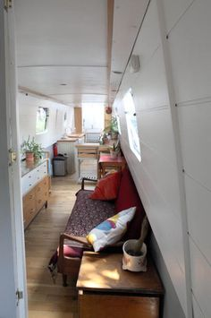 saloon leading to kitchen/galley Narrowboat Interiors, Canal Boat, Japanese Interior, Best Interior, Sweet Dreams, Bunk Beds, Cupboard, Toddler Bed, Sofa