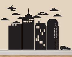 Gotham City Batman Vinyl Decal Sticker Original Graphics by DECOmod Walls. $64.00, via Etsy.